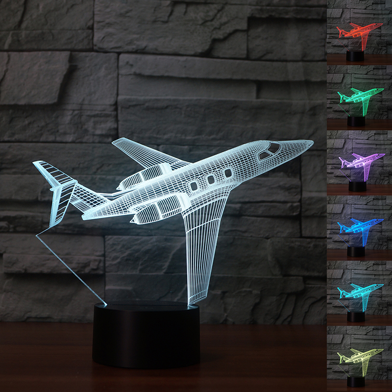Fding 3D Led Lamp Airplane Acrylic Night Light Colorful Gradient Touch Desk Table Lamp Kids Bedside Sleeping Light Drop Shipping image