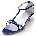 Women Bride Open Toe Bridal Prom comfortable Sandals Rhinestones Low Heels T-straps EP2111 Blue Satin Wedding Party Shoes