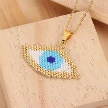Trendy MIYUKI Glass Beads Weave Necklace Women Handmade Devils Eye Choker Charm Necklaces Female Friendship Love Jewelry
