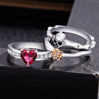 3pc Jewelry heart shaped+Skull+Rose Stone Princess Women's Silver Ring Gift