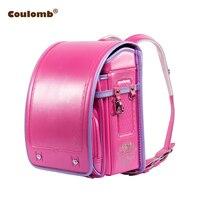 Coulomb Children Backpack For Boy And Girl Japanese School Bag PU Hasp Patchwork Kid Randoseru Student Bookbag Orthopedic 2017