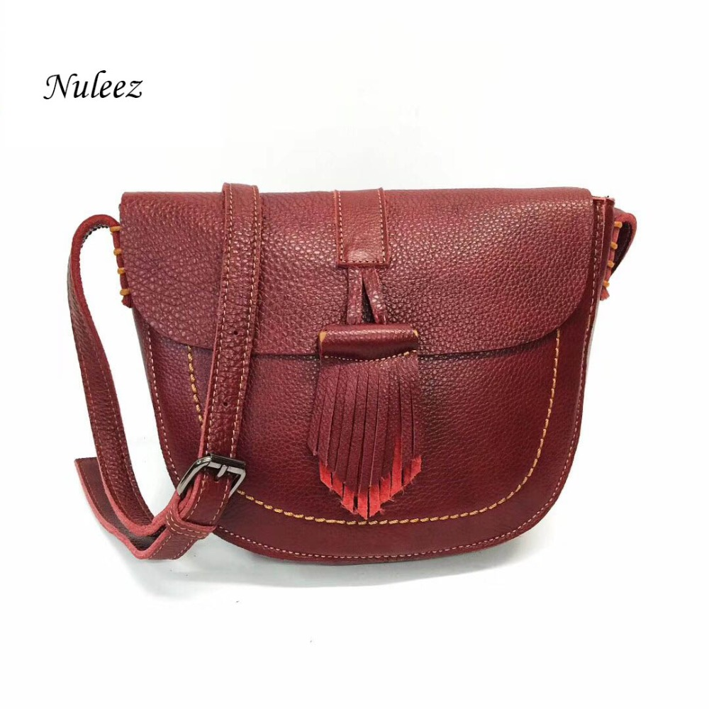 f26708e3b162 Nuleez saddle women messenger bags genuine leather solid tassel decoration  vintage fashion wallet for ladies new