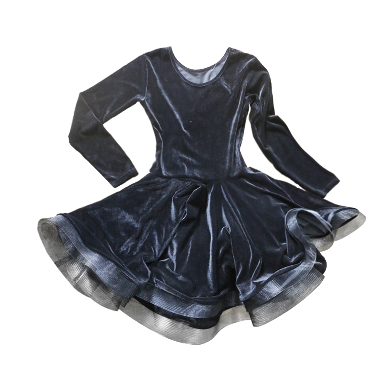 Picture of Black Velet Latin Dance Dress For Girls Modern Dance Costumes For Kids Latin Dresses Girls Dance Clothing Latin Sala Dress Rumba