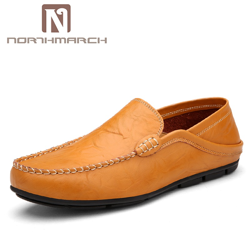 NORTHMARCH Genuine Leather Casual Men Driving Shoes Slip On Male Zapatos Flats Leisure Sapato Masculino Loafers Footwear gram epos 2018 male spring summer trend casual leisure pu leather shoes breathable for man footwear loafers men s slip on flats