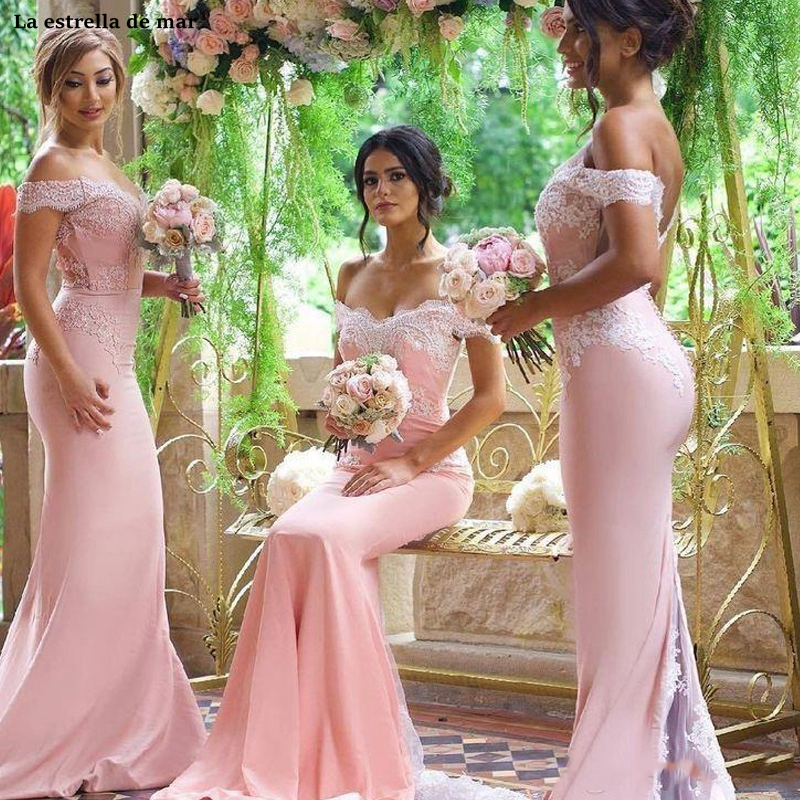 Pink Cheap Mermaid   Bridesmaid     Dresses   2019 Off Shoulder Lace Appliques   Bridesmaids     Dress   Back Button Sweep Train Formal wedding