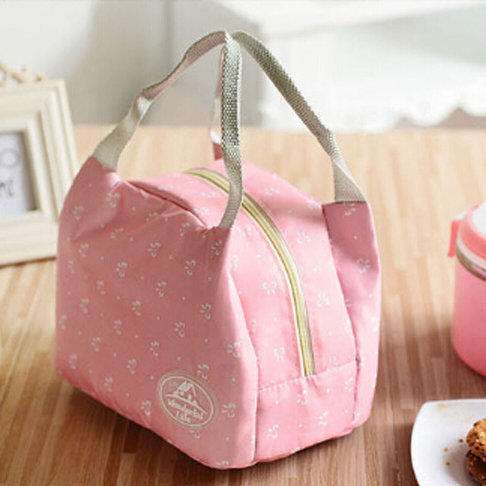 Portable Lunch Bag Women Bow Printing Tote Picnic Insulated Cooler Zipper Organizer Lunch Box Outdoor Picnic Storage Bags