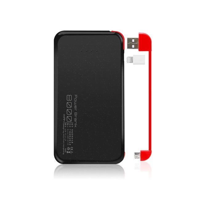 8000 мАч Powerbank С Кабель Micro Usb Внешнее Зарядное Устройство Резервного Копирования для iPhone 5s 6 7 Плюс Samsung IOS Android Телефоны DE15