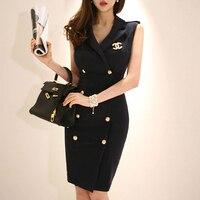2019 Women Summer Office Lady Work Wear Slim Vestidos Sleeveless BeltedDouble Button Sexy korean fashion style Dress clothes