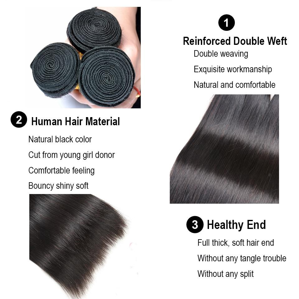 Image 3 - Pacotes de cabelo em linha reta com fechamento do cabelo humano  3/4 pacotes com fechamento gem beleza remy cabelo peruano pacotes com  fechamento do laçoPacotes com 3/4 com fecho