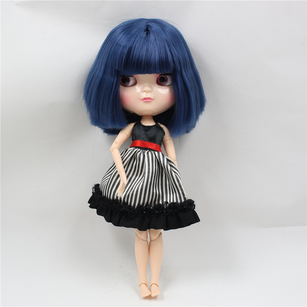Neo Blythe Doll with Blue Hair, White Skin, Shiny Face & Jointed Azone Body 1