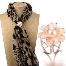 KINGDENG brooch pin scarf buckle Zinc Alloy Trendy gifts for women 2019 Flower scarf buckle brooch pearl High grade fashion trendy rhinestoned faux pearl brooch for women