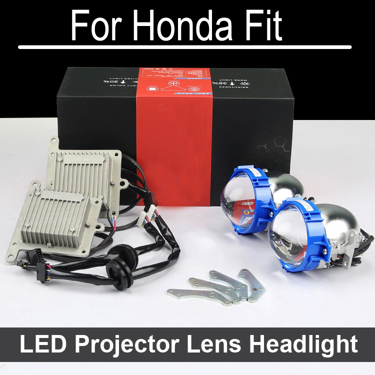 No Error Hi Low LED Projector lens headlight Assembly For Honda Fit with halogen headlamp ONLY Retrofit Upgrade (2006-2015) bi xenon car led projector lens assembly for lexus es350 es300 es330 with halogen headlight only retrofit upgrade 1996 2012