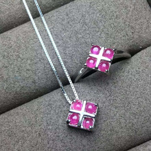 Natural red ruby gem jewelry sets natural gemstone Pendant ring 925 silver Elegant Simple square women