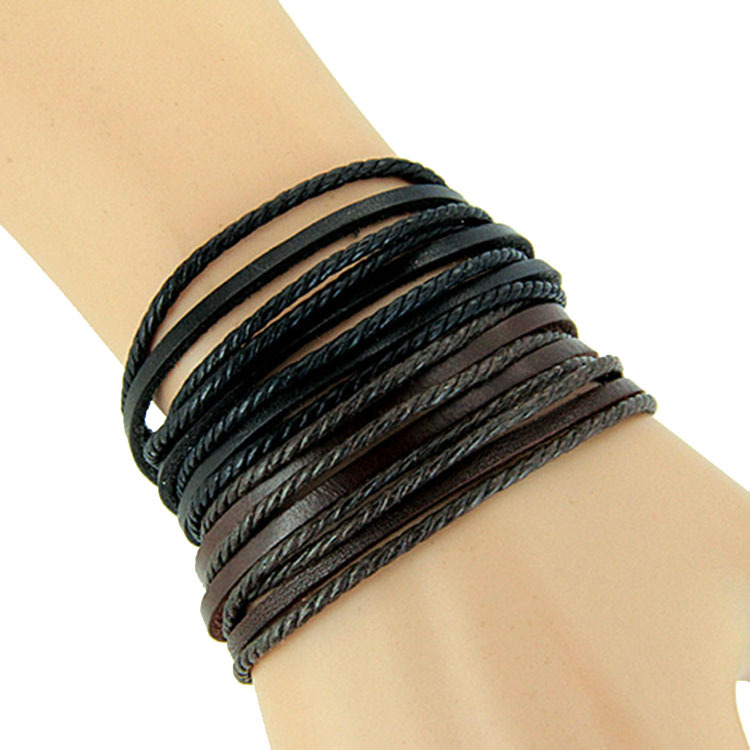 Monochrome Woven Leather Bracelet Pure Hand-painted Leather Rope Bracelets WOMEN AND MEN Bracelet