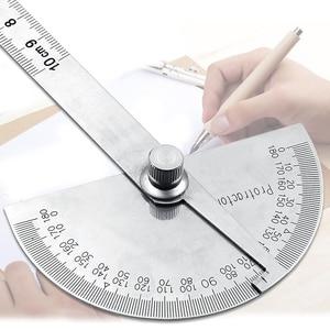 Image 4 - 0 180 stopni 10cm linijka kątowa goniometr kątomierz ze stali nierdzewnej okrągła głowica linijka kąt drewna kwadratowy na narożnik Test