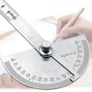 Image 4 - Goniómetro Regla de ángulo de 0 180grados, regla de cabeza redonda de acero inoxidable, regla de ángulo cuadrado para carpintería, prueba de esquina