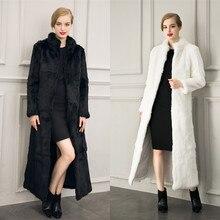 Winter Women's Faux Fur Coat Rabbit Fur X-Long Coat Thickening Warm Jacket Women Elegant Fox Fur Mandarin Collar Fur Jacket