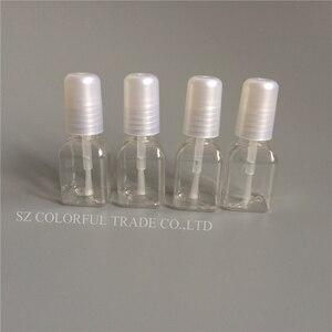 Image 2 - 300 adet/grup 5g Mini Sevimli Şeffaf Plastik Boş kare tırnak Cilalı Şişe Beyaz Fırça Plastik Tırnak Şişesi çocuk