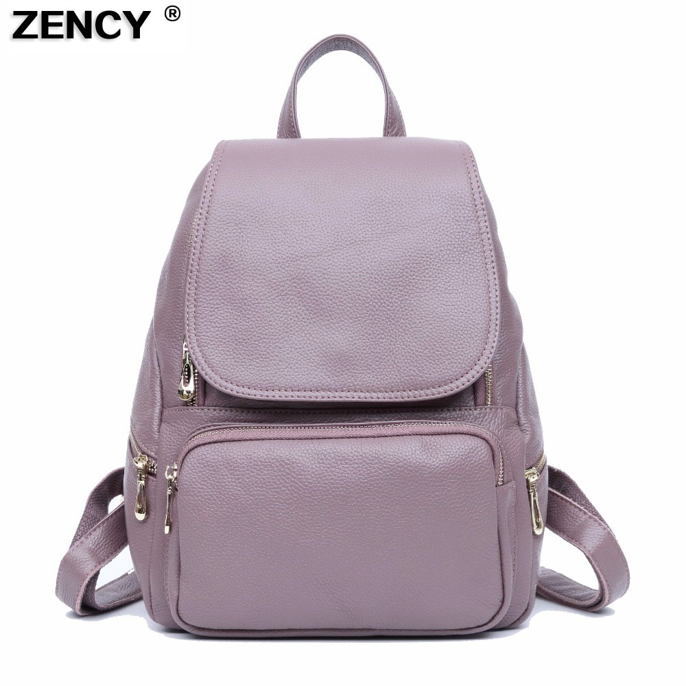 ZENCY Leather Backpack Bags Real Soft Genuine Leather Women Backpacks Ladies Girl's Top Layer Cowhide School Bag Mochila zency genuine leather backpacks female girls women backpack top layer cowhide school bag gray black pink purple black color
