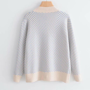 Image 3 - 2020 jesienny damski nowy sweter koreański wersja luźne paski rozpinany sweter z długimi rękawami dekolt w szpic uniwersalna kurtka