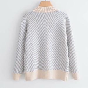 Image 3 - 2020 가을 여성의 새로운 스웨터 느슨한 줄무늬 스웨터 카디건 긴팔 v 목 다목적 재킷의 한국어 버전