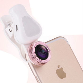 Ecusells 8 LED Flash Light Selfie Flash Aluminum Alloy Mobile Phone Lens 0.62X Wide Angle 4K 15X Macro for Smartphone with Lamp mobile phone