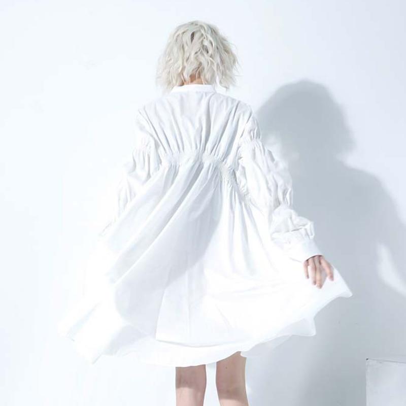 New Fashion Style Long Puff Sleeve Single Breasted Loose Pleated Straight Dress Fashion Nova Clothing