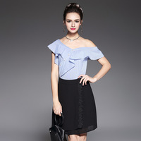 Frilled Asymmetrical Off Shoulder Shirt Women Summer Fashion Striped Cotton Tops Blouses Blue Size S To