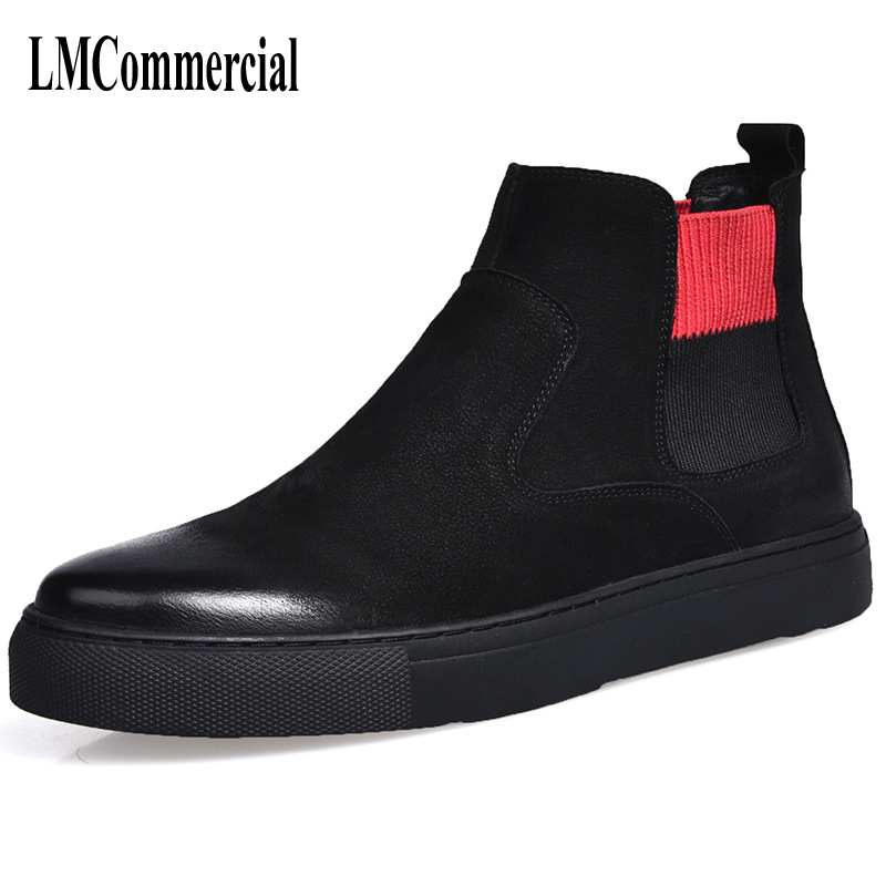 Martin boots male high shoes retro trend of Korean men in autumn and winter with warm cotton cashmere men leather boots British martin boots men s high boots korean shoes autumn winter british retro men shoes front zipper leather shoes breathable
