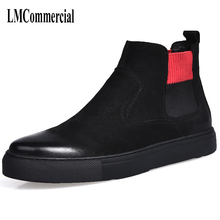 Riding boots male high shoes retro trend of Korean men in autumn and winter with warm cotton cashmere men leather boots British new autumn winter british retro high male boots leather cowhide cashmere zipper leather shoes breathable fashion boots men