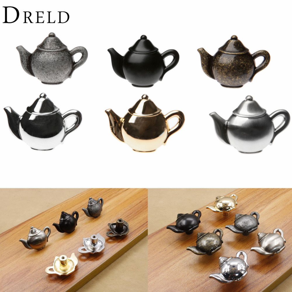 DRELD Teapot Antique Furniture Handle Alloy Drawer Door Knobs Closet Cupboard Kitchen Pull Handle Cabinet Knobs and Handles children soft plastic environmental protection furniture handle carton vegetable knobs for closet drawer shoes cabinet