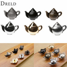 DRELD Teapot Antique Furniture Handle Alloy Drawer Door Knobs Closet Cupboard Kitchen Pull Handle Cabinet Knobs and Handles(China)