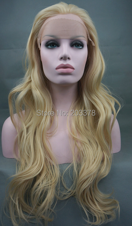 ФОТО Stunning New High Quality Synthetic  LONG Wavy Lace Front  Blonde Wig Light Blond Wigs Free shipping