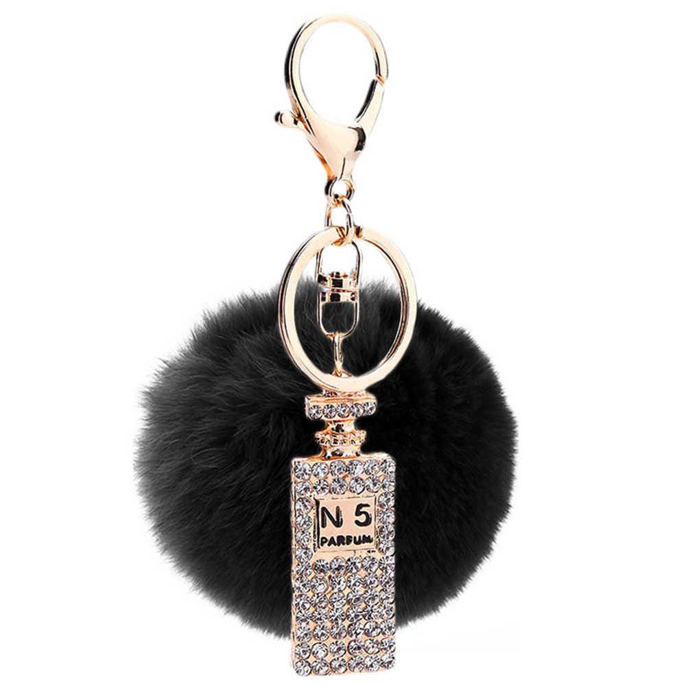 2016 Fofo porte clef pompom de Fourrure Pom Pom Keychain llavero Chave Anéis Da Cadeia de Bola de Pêlo de Coelho Saco Frasco de Perfume pingente