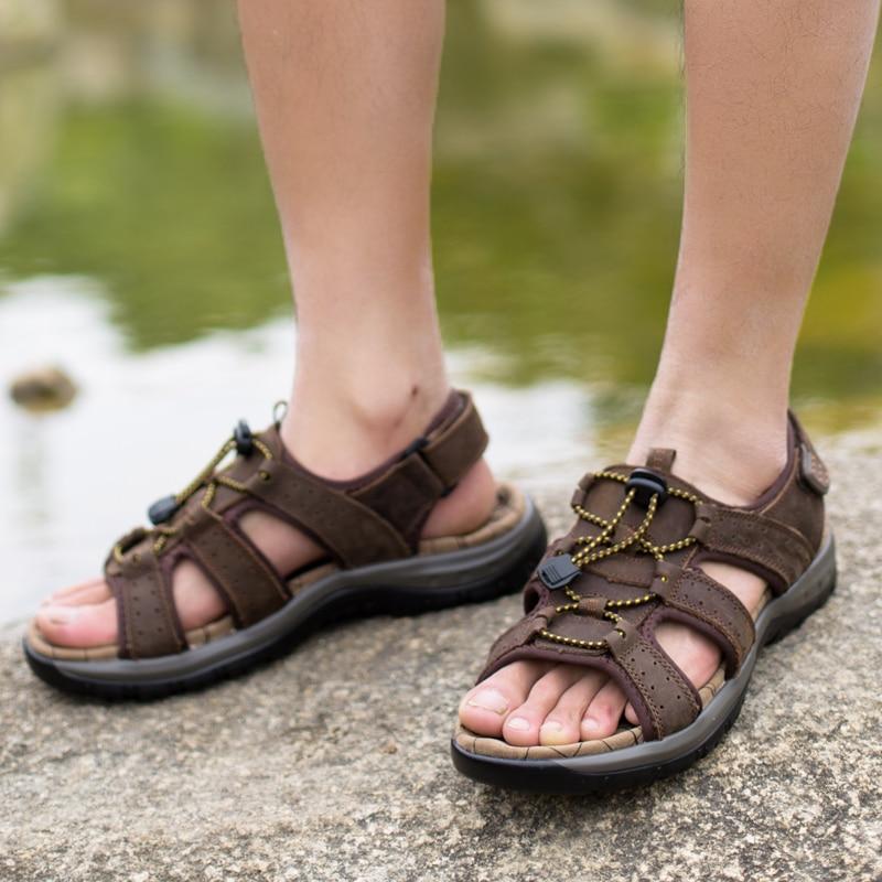 Kulit Asli Pria Sandal Musim Panas Pantai Sepatu Fashion Baru - Sepatu Pria - Foto 5