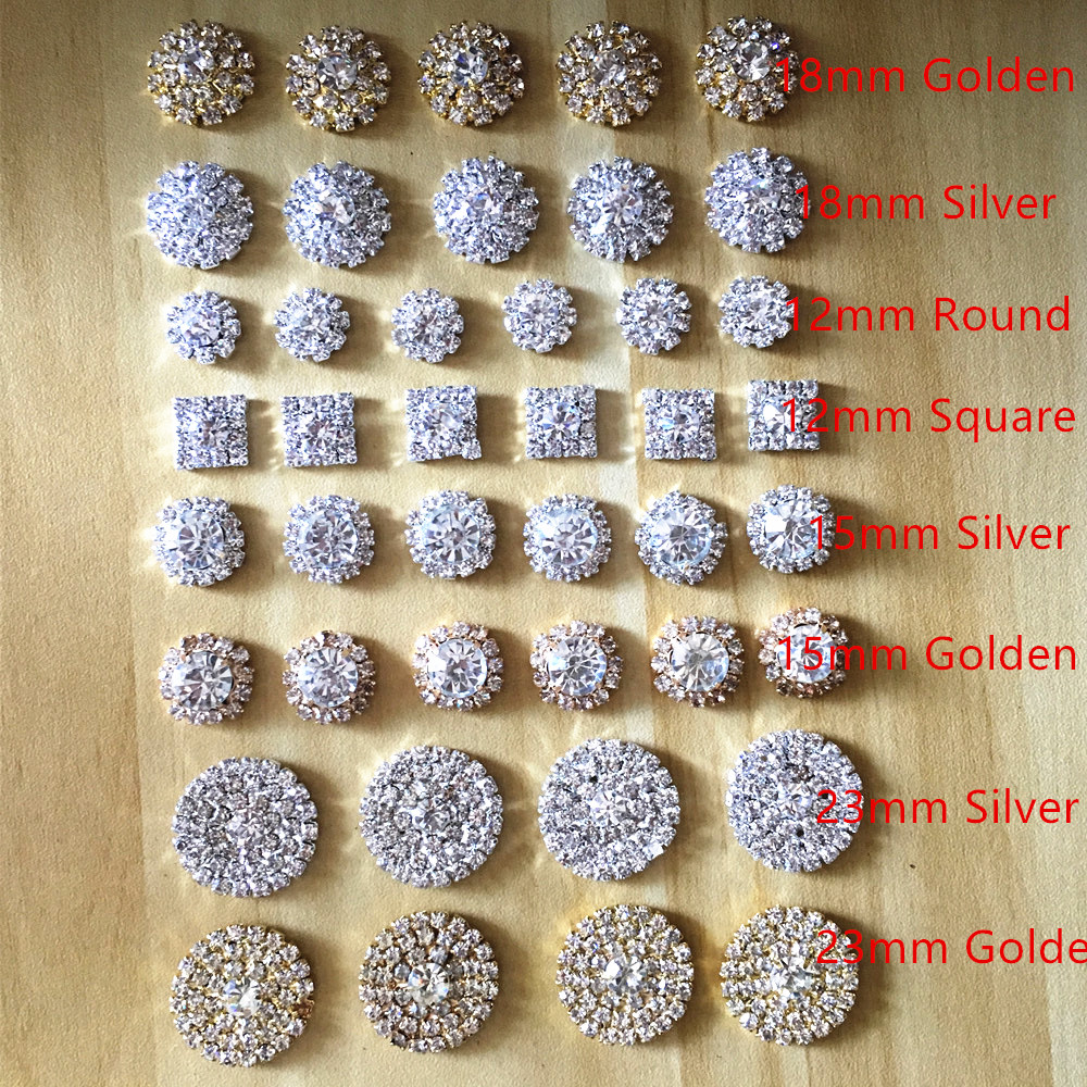 CJSIR 10Pcs Silver Tone Clear Crystal Rhinestone DIY Invitation Card Embellishments Flatback Metal Buttons Accessories Decors