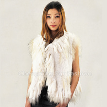 CX-G-B-02  Hand Knitted  Rabbit  Hand Knitted Fur Vest  Natural Colour ~ DROP SHIPPING