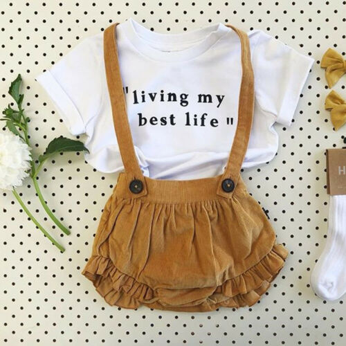 2PCS Cute Sweet Toddler Newborn Baby Kids Girl Summer Clothes Tops T-shirt+Bib Pants Outfit