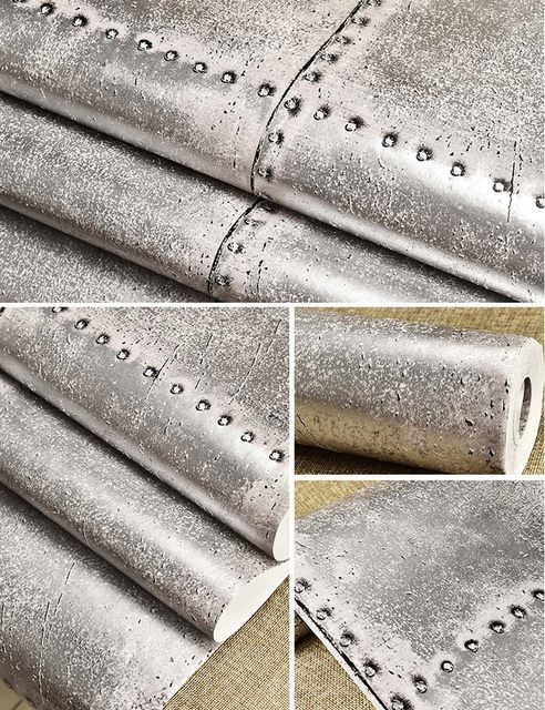 Online Shop Vintage Iron Sheet 3D Wall Paper For Walls Grey Rustic