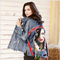Autumn and winter women's denim jacket BF style loose personality ribbon print denim coat women outerwear Spring clothing G238