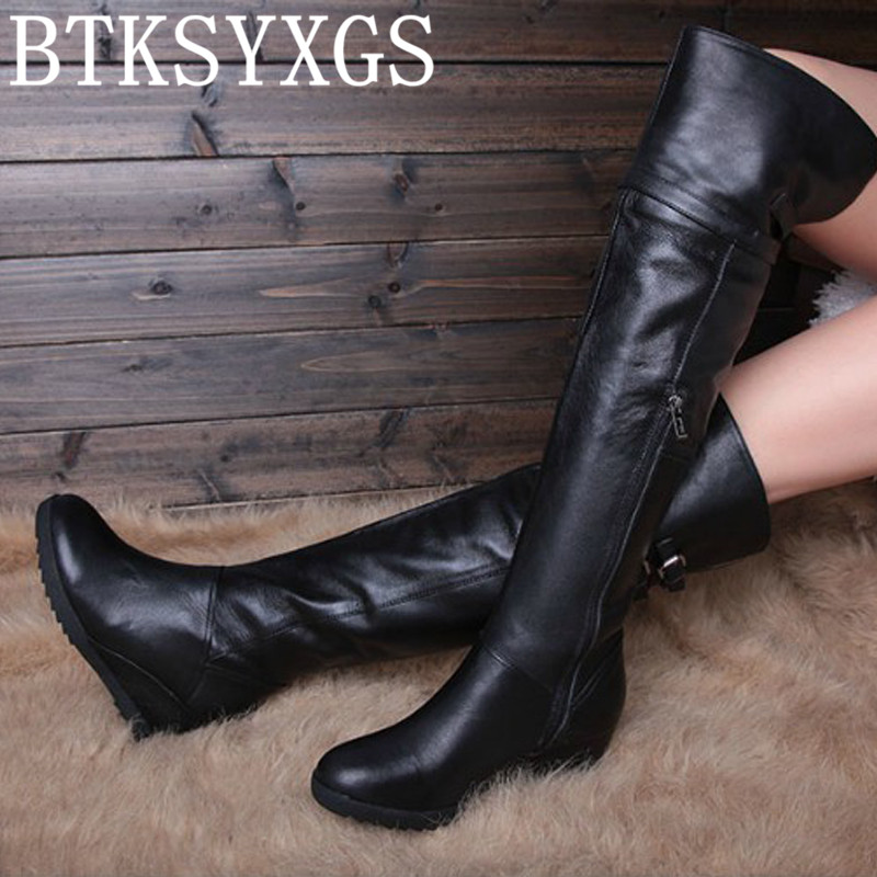 BTKSYXGS Women's sexy over-the-knee long boots 100% genuine leather 2017 New fashion winter thigh high wedges boots Woman shoes