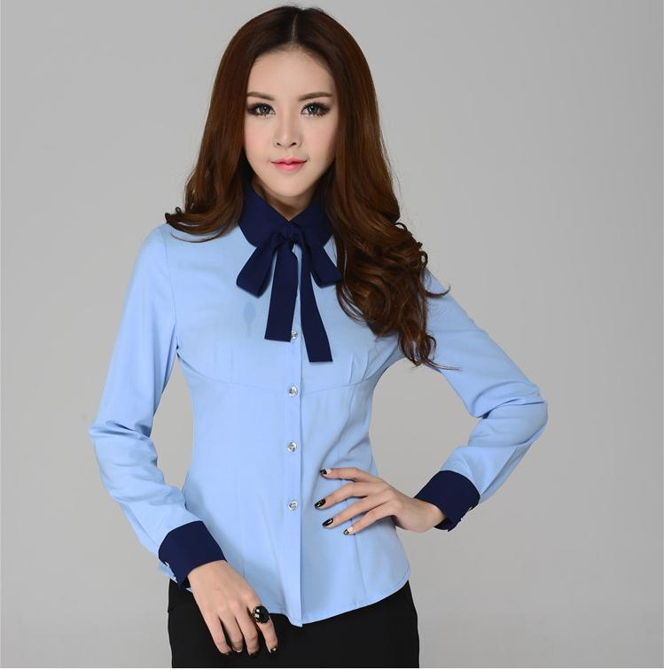 New 2104 Spring and Summer Formal Women Shirts Long Sleeve Plus ...