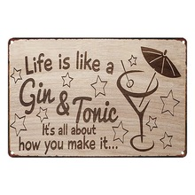Life is like a Gin & Tonic Metal Photo Plaque Tin Vintage Sign Motto Brave Plate Pub Wall Art Decor Notice Display 20x30cm