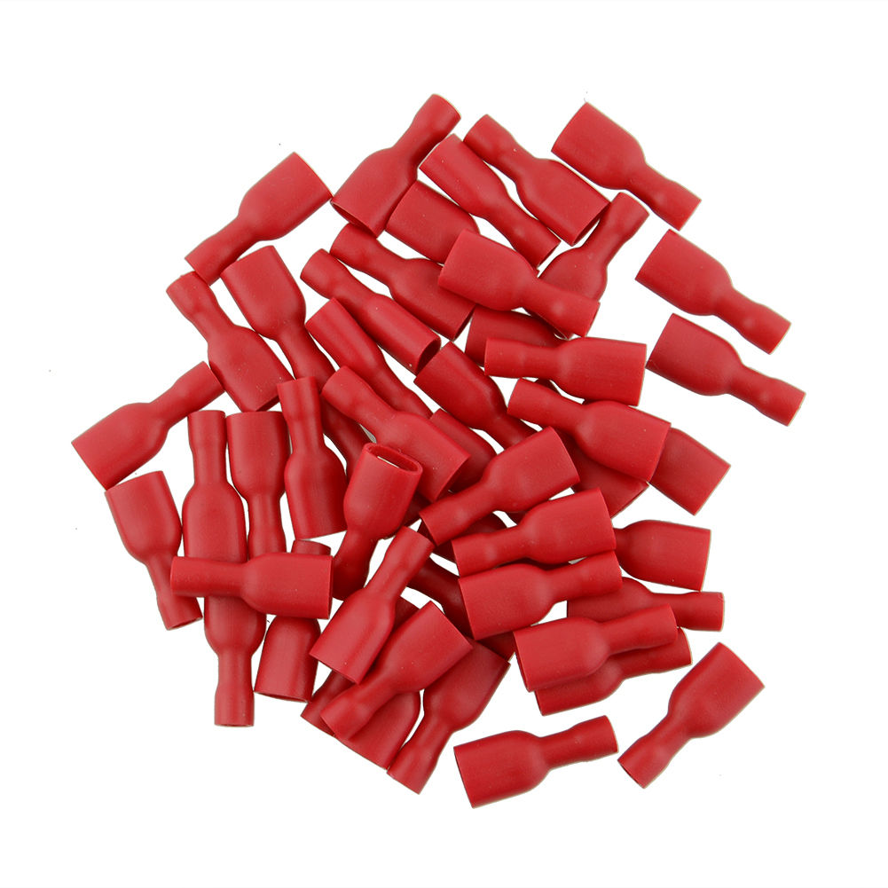 New Red 50pcs Male + 50pcs Female Spade Blade Connectors Insulated Wire Crimp Terminal 50pcs bts462t