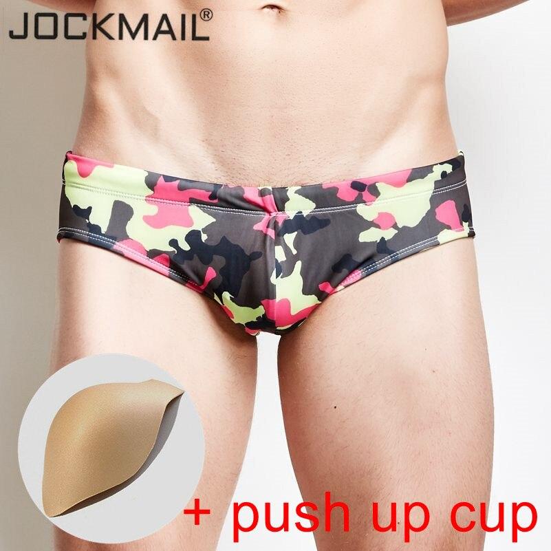 JOCKMAIL brand Bulge Enhancing mens swimwear low waist camouflage sexy push up cup mens swim shorts mens surfing swim pants