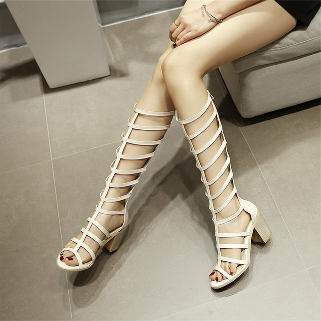 35502f775d2a YMECHIC 2018 Summer Knee High Gladiator Sandals Women Black Beige Sexy  Chunky High Heels Long Rome
