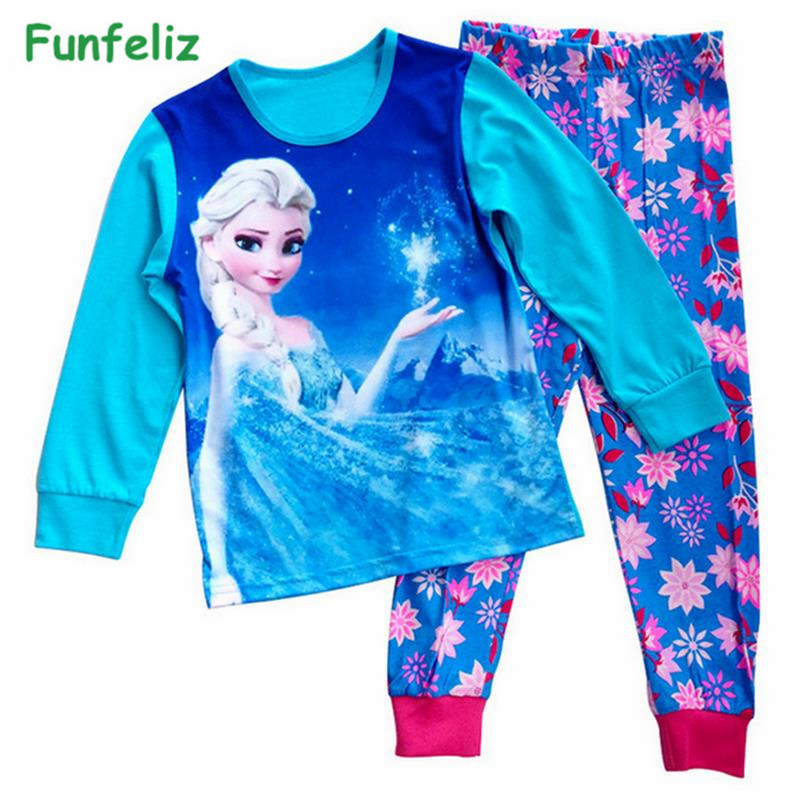 Funfeliz Anna Elsa Sleepwear for Girls Autumn Winter Girl Pajamas - Children's Clothing - Photo 1
