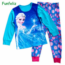 Funfeliz Anna Elsa Sleepwear for Girls Autumn Winter Girl Pajamas Full Sleeve Cotton Kids pijamas Baby pajama