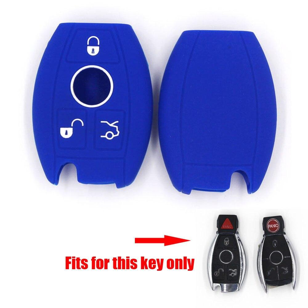 2496cdc15 Barbacoas @ fuka negro/azul/Rosa coche remoto llave silicona Llaves bolsa  caso para Benz E /C/CL/gl/SLK clase clave remoto inteligente