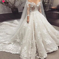 TaoHill Luxury Wedding Dress Puffy Beige Three Quarter Sleeves Little Flowers Ball Gown Wedding Dresses